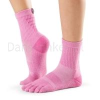 ToeSox Mediumweight Sport Sock Crew roze zijkant