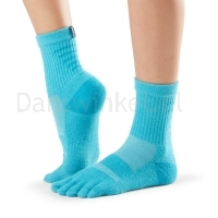 ToeSox Mediumweight Sport Sock Crew blauw zijkant