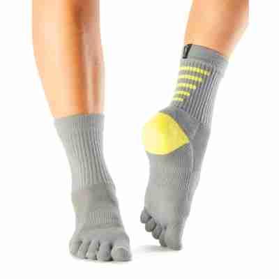 ToeSox Mediumweight Sport Sock Crew grijs voorkant