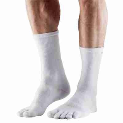 ToeSox Mediumweight Sport Sock Crew wit zijkant