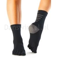 ToeSox Mediumweight Sport Sock Crew zwart voorkant