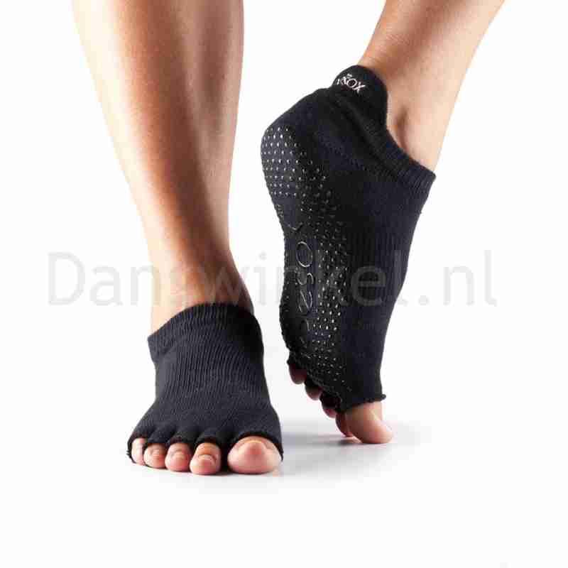 ToeSox Half Toe Low Rise Antislip Sokken met Open Teen Zwart