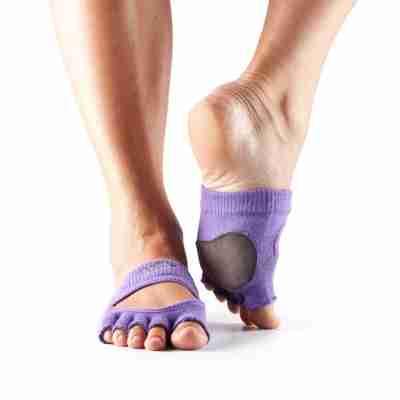 ToeSox Releve Halve Sokjes roze met grip zool voor pilates en yoga