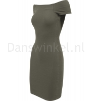 Urban Classics Ladies Off Shoulder Rib Dress olive