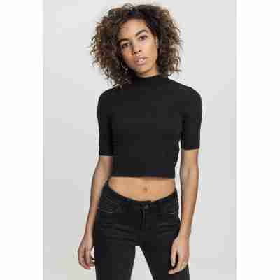 Urban Classics Ladies Cropped Turtleneck Tee zwart