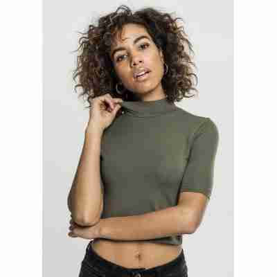 Urban Classics Ladies Cropped Turtleneck Tee olive